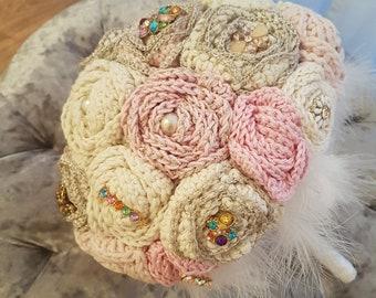 Bridal Rose Bouquet, Crochet Bouquet, Brooch Bouquet, Wedding Bouquet, Rose, Bridal Bouquet, Crochet, Crochet Flowers, Wedding Accessory