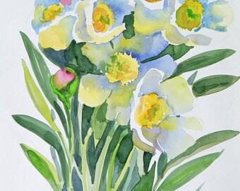 White peonies watercolour original painting art nursery art classical painting 9 x 12 in Botanical illustration Italian Garden