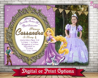 Rapunzel Invitation, Rapunzel birthday invitation, Tangled, Rapunzel birthday,  Princess Invitation, Tangled  Photo Birthday Invitation