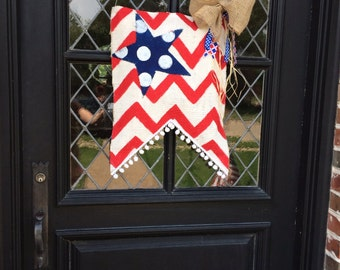 Red, white and blue burlap door hanger