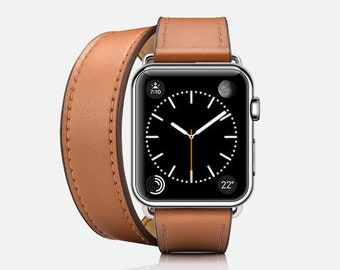double wrap leather Apple watch band