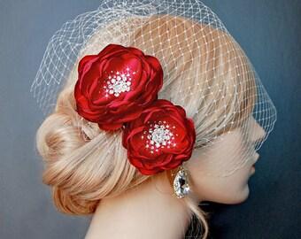 Wedding Hair Flowers, Red Bridal Hair Flowers, Brooch 2 Piece Set - Valentine Red Blooms