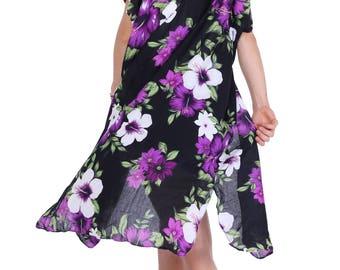 Purple Black Floral Kimono, Boho Kimono, Womens Kimono Beach Cover Up, Kimono Cardigan, Kimono, Shrugs, Boho Top, Festival, Tribal Kimono
