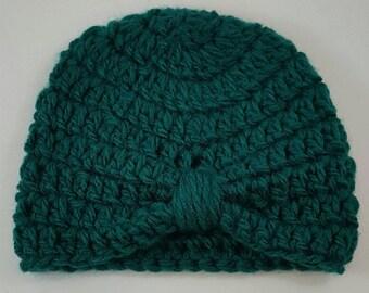 Crochet Baby Turban, Handmade Baby Turban, Teal Baby Turban, Crochet Newborn Turban, Newborn Turban, Green Baby Turban, Blue Baby Turban