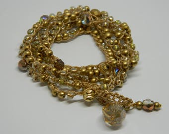 Golden Goddess, Swarovski, crochet, wrap, bracelet, necklace
