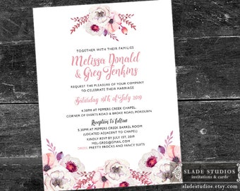 Pink Floral Wedding floral invitations printable. Pink watercolour floral.