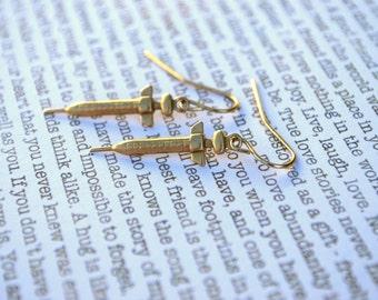 Nurse Earrings -- Shots, Needles, Gold