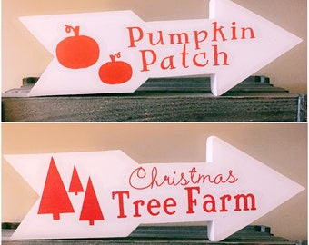 Fall & Christmas Decor in One, Reversible Wooden Arrow