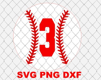 Number 3 Baseball Birthday Svg Png Dxf Cutting File Instant Download Birthday Svg Png Dxf Sports Theme Birthday Svg Png Dxf