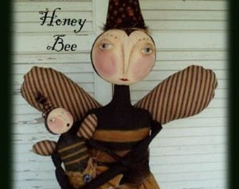 Primitive Folk Art Queen and Honey Bee Doll Epattern