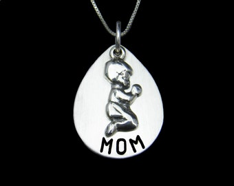 Mothers Day Gift , Mom Necklace, Mom w/ Boy or Girl Charm Necklace,  Hand Stamped Jewelry - Gift for Mom, Mommy Jewelry, New Mom Gift