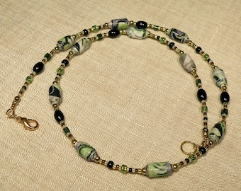 Green and Black Paper and Glass Beaded Necklace