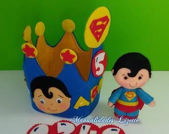 Corona Superman-Birthday-Superheroes-League of Justice-Corona Birthday-Children-Children's Party-Decoration Party-Corona Felt