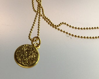 Druzy pendant/pendent/Gold Druzy/Drusy/Gold/ball chain / gold ball chain /