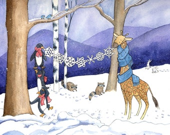 Penguins Holiday Card Giclée Print