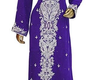 xlarge Hand Beaded purple kaftan/Kaftan Dress/ plus size dress/ 2xl Kaftan dress