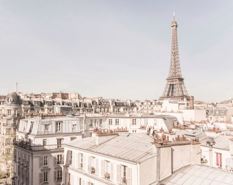 Paris Photograph - The Eiffel Tower and Rooftops,Travel Photograph, French Urban Home Decor, Large Wall Art