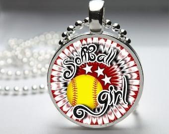 Softball Glass Dome Pendant Necklace