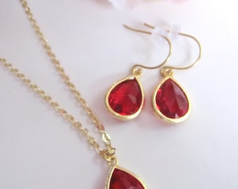 Red Modern Necklace, Earring Necklace Set, Valentines Day, Red Bridal Jewelry, Red Dangle Earrings, Red necklace Jewelry, Gardendiva
