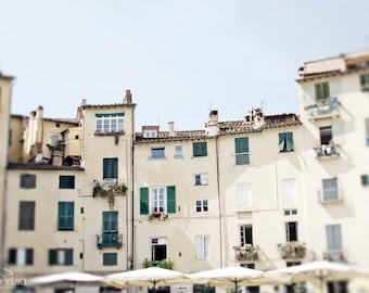 Italy Houses Photo, Large Wall Art Print, Travel Photography, Lucca, Architecture, Street, Italy Decor, Italian Houses, Large Art, Pastel