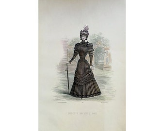 ANTIQUE FRENCH FASHION lithograph - original antique print - fashion illustration design fashion designer - black pleated dress