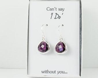Amethyst Silver Earrings, Silver Amethyst Earrings, Bridesmaid Gift, Purple Wedding Jewelry, Bridesmaid Earrings, Purple Bridal Accessories