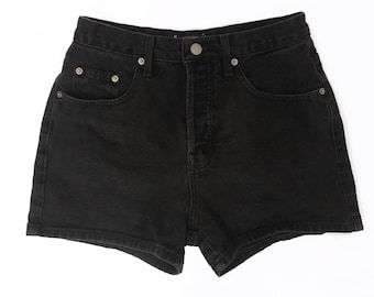90s Vintage Guess High Waisted Washed Black Jean Shorts