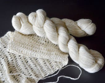 2 ply Sport Weight Shetland/ Mohair Blend Yarn - 200 yards 18 wpi 3oz skeins - Super Soft Cream - Our First Mill Run Yarn