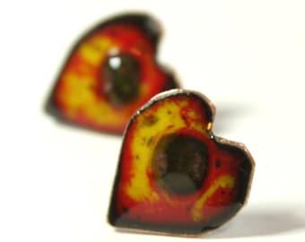 Red heart enamel stud earrings. Enamel jewelry by Katherine Reekie.