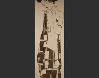 Stone plate engraved insert featuring Gerti sister of Egon Schiele. Made in 1910.