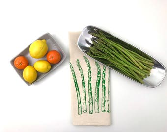 Spring Asparagus Natural Flour Sack Towel  - Hand Screen Printed Tea Towel