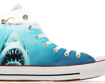 shark attack movie design custom converse high top shoes