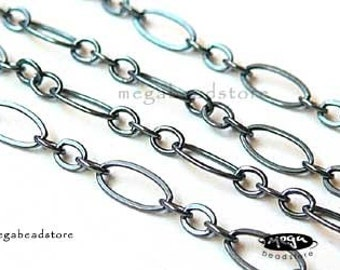 5 feet Black Oxidized 925 Sterling Silver Flatten Cable Chain 4mm x 2mm CH11Z