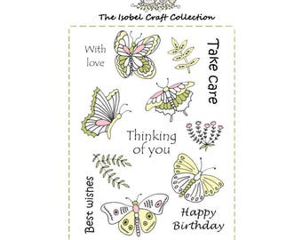 A6 set of photo-polymer clear stamps - BUTTERFLIES DESIGN