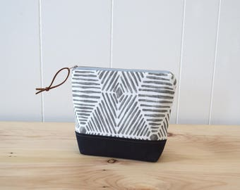 Cosmetic Bag in Web with Waxed Canvas - Zipper Clutch, Makeup Pouch, Bridesmaid Gift, Make Up Clutch
