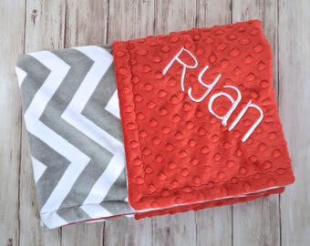 Monogrammed Baby Blanket - Minky Red, Gray and White Chevron Personalized, Ohio state baby, Gender Neutral Blanket with Name Newborn