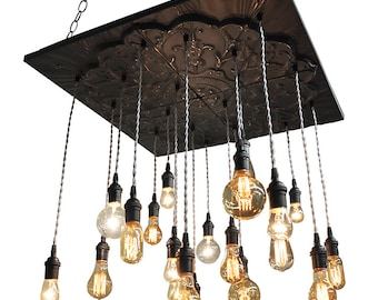 Black Industrial Tin Chandelier - Vintage Metal Chandelier With Nostalgic Bulbs
