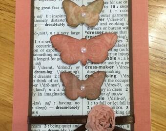 Coral Butterflies Blank Handmade Card