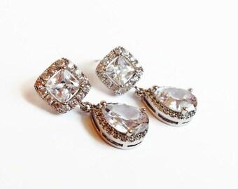 Cubic Zirconia Teardrop Bridal Earrings - Bridesmaid Gift - Wedding Jewelry