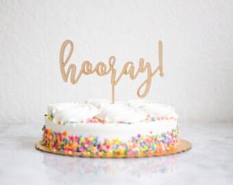 Hooray cake topper Etsy