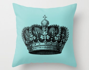 Royal Crown Pillow  - Vintage Crown Throw Pillow - Crown Novelty Pillow - Crown Decor - Blue and Black Pillow - Aldari Home