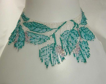 Pattern seed beaded Blue summer leaves necklace instructions beading flat square stitch loom necklace Beading Tutorial bead beading necklace