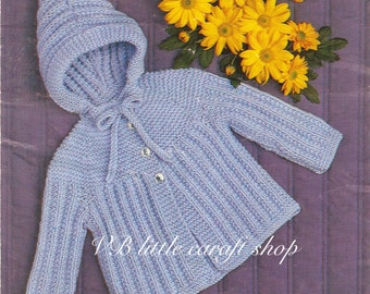 Baby's jacket with hood knitting pattern. Instant PDF download!