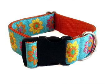 """1.5"""" Turquoise Floral Wide Dog Collar Buckle or Martingale"""
