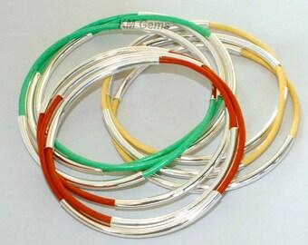 3 Leather SILVER Double Tube Leather BANGLE Bracelets - Custom PICK Color / Size - Lead Free Leather Tube Bangle Bracelets -  Usa 001