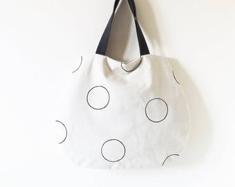 Beige bag with black polka dots hand painted