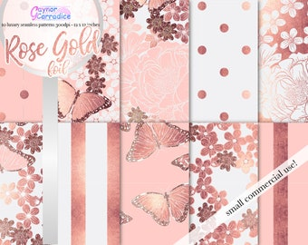 Rose gold digital papers pack Blush floral Wedding seamless patterns Butterfly printable paper Girl boss background spring planner stickers