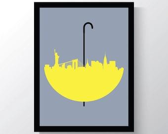 How I Met Your Mother, Wall Art Print, New York Skyline, Yellow Umbrella Print, 8x10 Wall Art