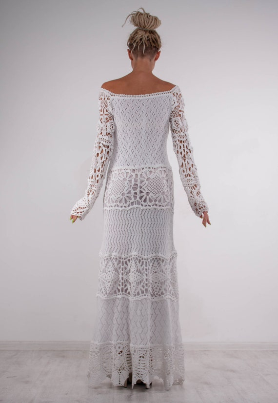 off dress shoulder white white white Crochet Irish Dress evening dress lace dress Crochet maxi Crochet formal party gown lace dress Handmade 6qzAwpxq