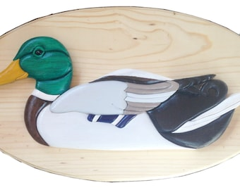 Wooden Drake Mallard Duck wall plaque